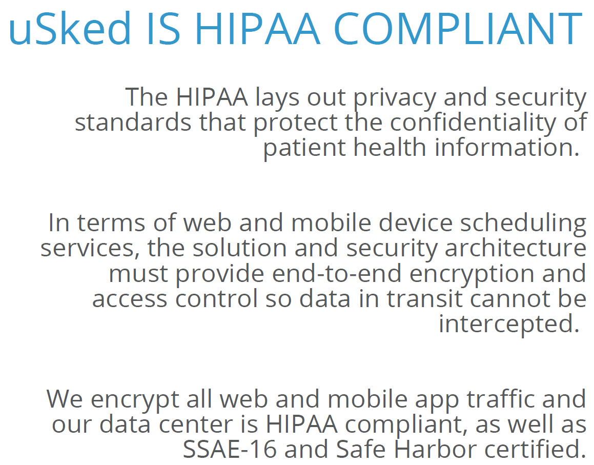uSked IS HIPAA Compliant