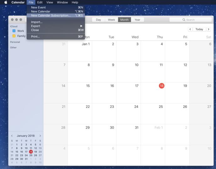 New calendar subscription from menu