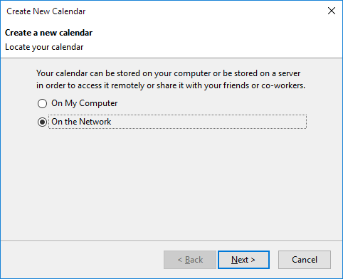 create a new calendar on the network