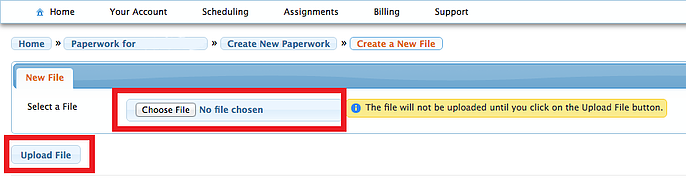 choose file for paperwork then upload
